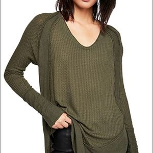 FREE PEOPLE Catalina Knit Top In Dark Military